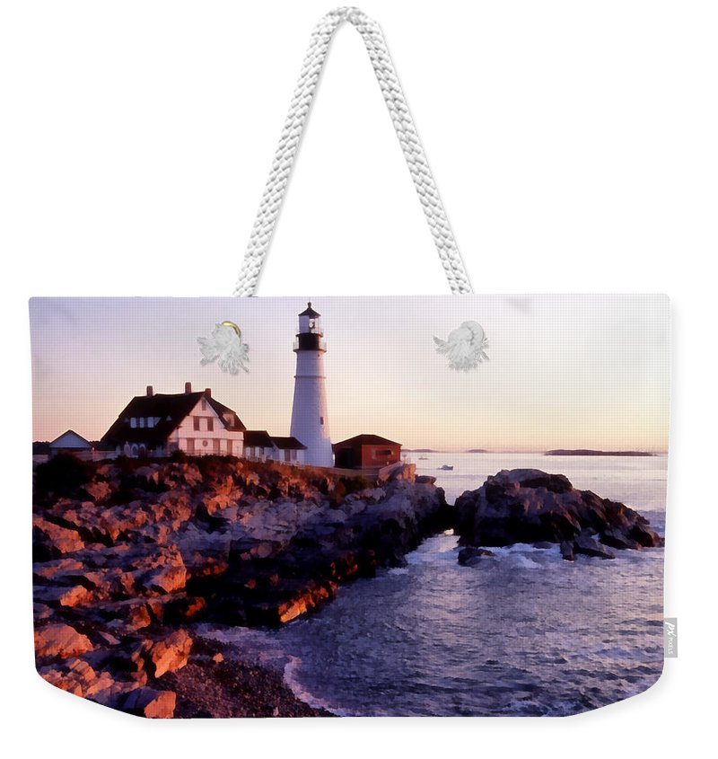 Water Ocean Scene Lighthouse Maine Painting Fishing Nature Weekender Tote Bag featuring the painting Pnrf0905 by Henry Butz