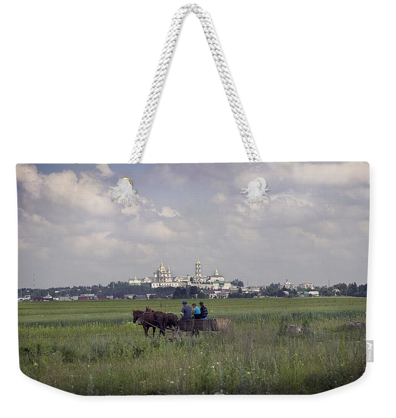 Ukraine Weekender Tote Bag featuring the photograph Pochaiv Monastery Ukraine by Yuri Lev
