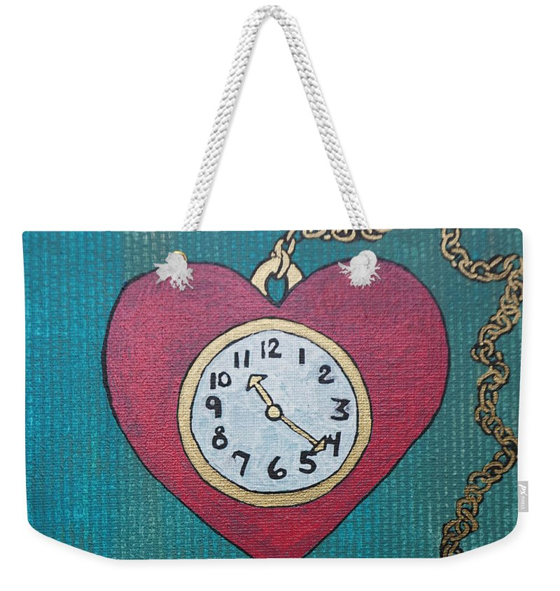 Watch Weekender Tote Bag featuring the painting Pocketwatch by Katherine Klauber