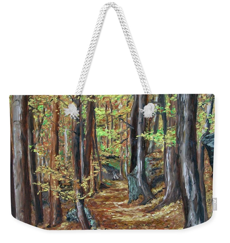 Landscape Weekender Tote Bag featuring the painting Podzim V Lese Po Pesine Behaj Bezci by Pablo de Choros