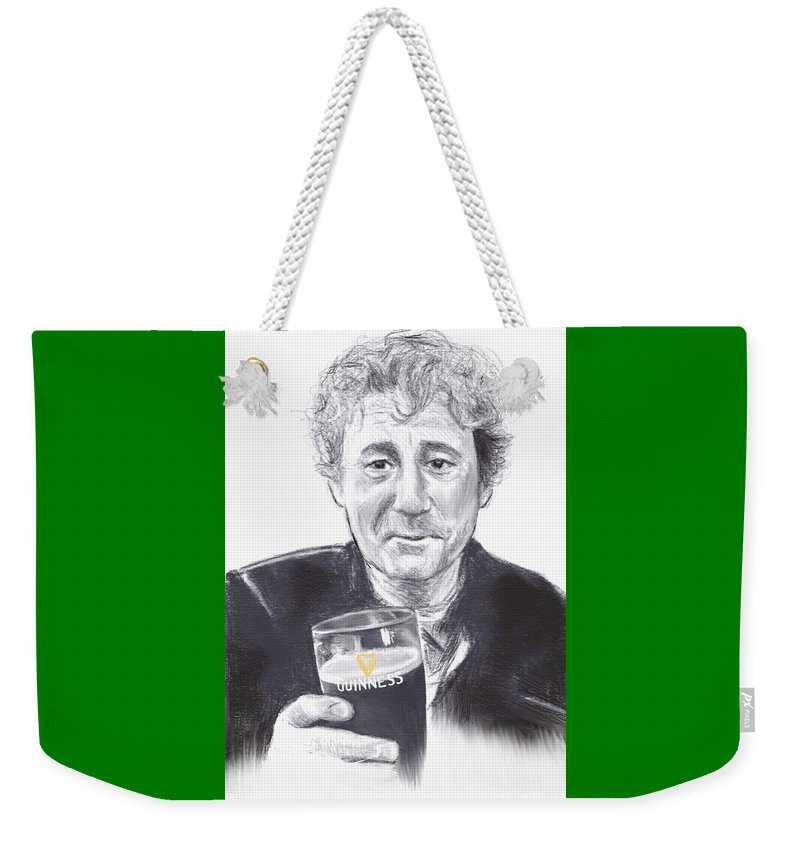 Irish Weekender Tote Bag featuring the drawing Pog Mo Feckin Thoin by C Pelzie