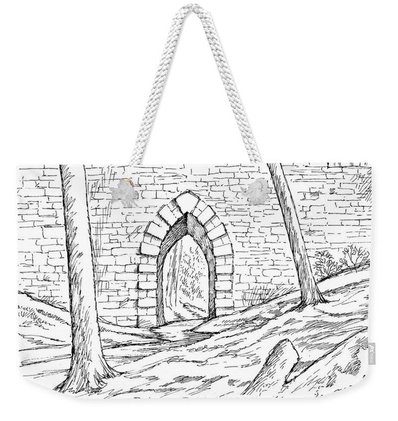 Bridge Weekender Tote Bag featuring the drawing Poinsett Bridge by Greg Joens