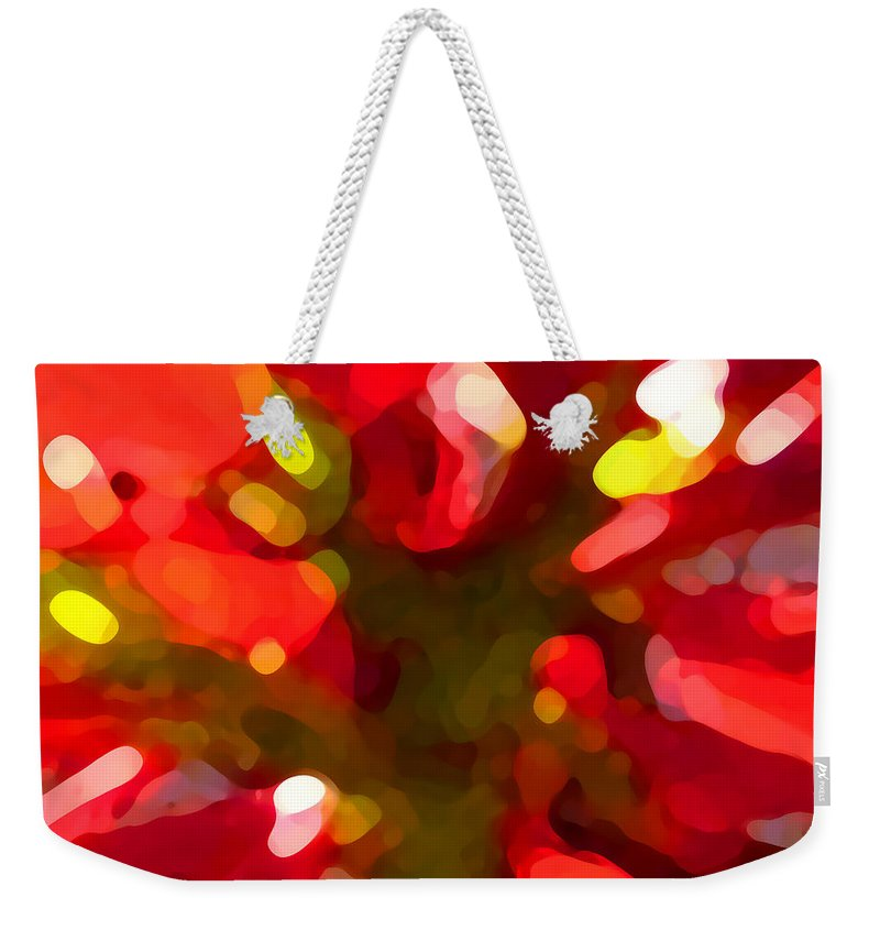 Abstract Painting Weekender Tote Bag featuring the painting Poinsetta by Amy Vangsgard