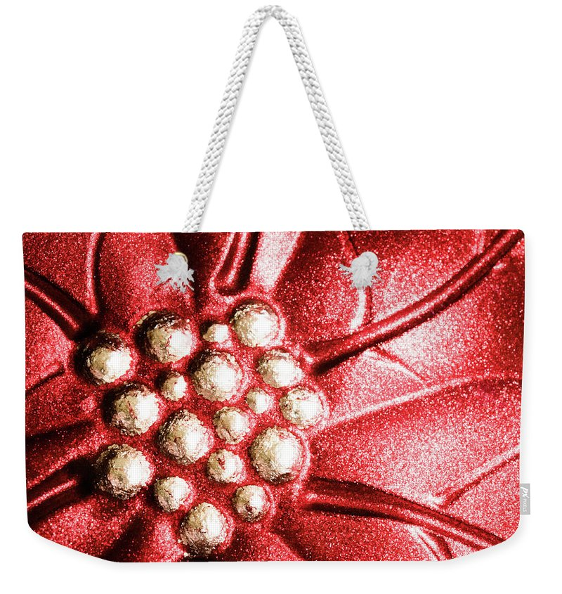 Poinsettia Weekender Tote Bag featuring the photograph Poinsettia Abstract by Margaret Koc