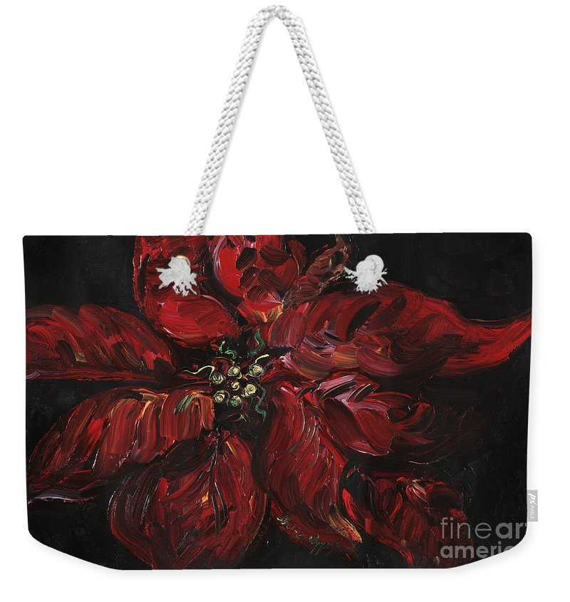Abstract Weekender Tote Bag featuring the painting Poinsettia by Nadine Rippelmeyer