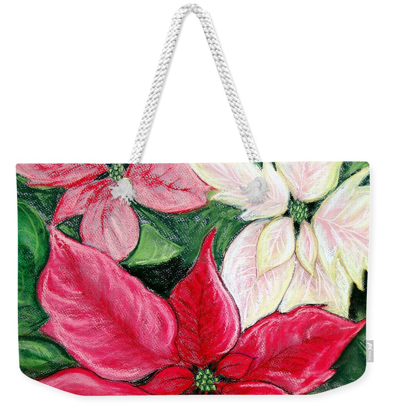 Poinsettia Weekender Tote Bag featuring the pastel Poinsettia Pastel by Nancy Mueller