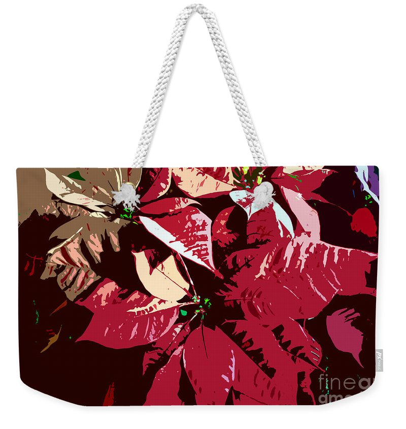 Poinsettias Weekender Tote Bag featuring the photograph Poinsettia's Work Number 7 by David Lee Thompson