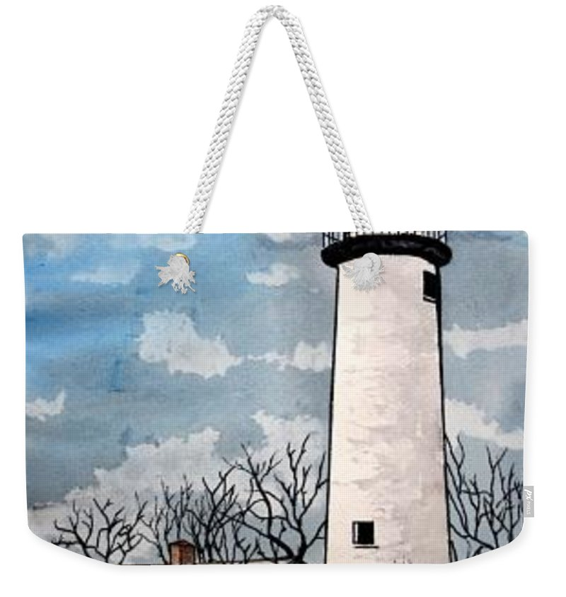 Lighthouse Painting Weekender Tote Bag featuring the painting Point Aux Barques Lighthouse by Derek Mccrea