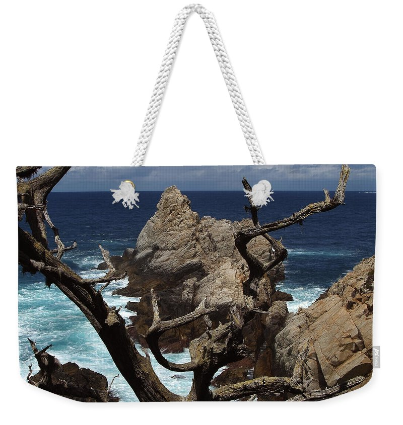 Carmel Weekender Tote Bag featuring the photograph Point Lobos Rocks and Branches by Charlene Mitchell