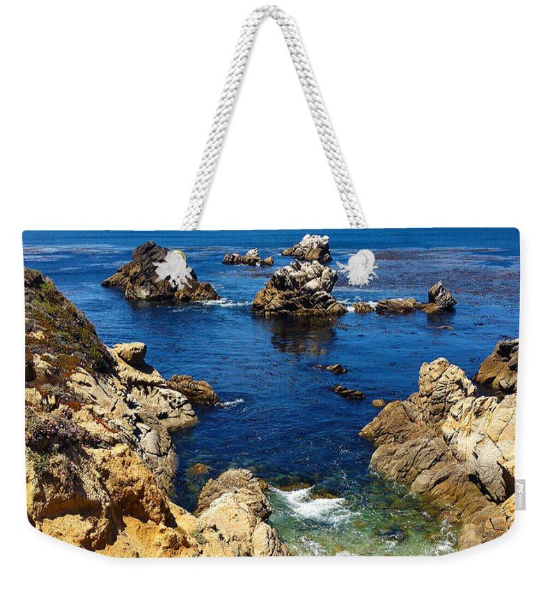 Point Lobos Weekender Tote Bag featuring the painting Point Lobos Whalers Cove- Seascape Art by Kathy Symonds