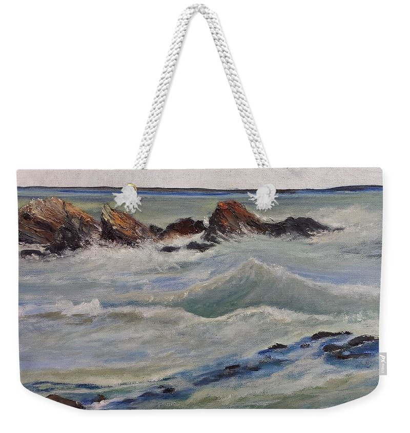 Wave Weekender Tote Bag featuring the painting Point Of Action by Susan Hanna