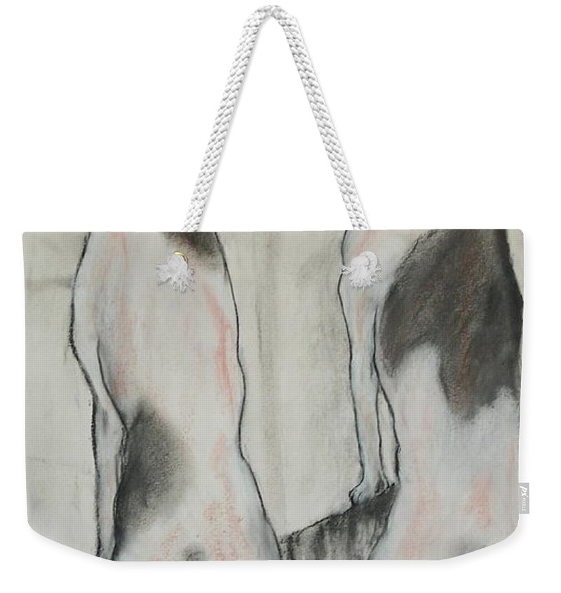 Pastel Weekender Tote Bag featuring the drawing Point Of View by Cori Solomon