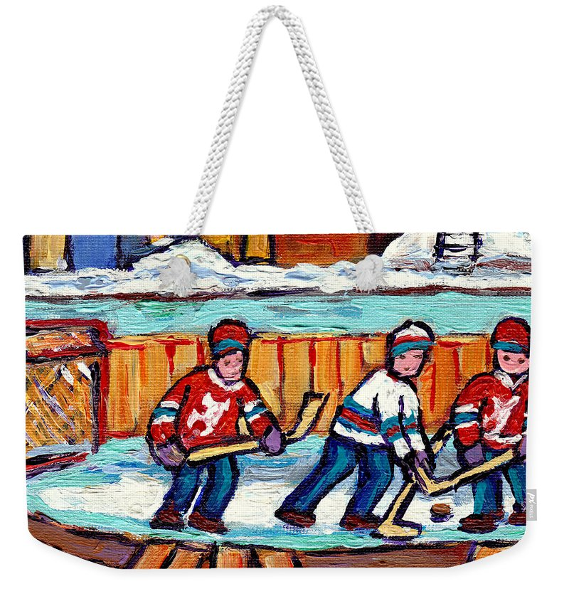 Hockey Weekender Tote Bag featuring the painting Outdoor Hockey Rink Painting Devils Vs Rangers Sticks And Jerseys Row House In Winter C Spandau by Carole Spandau