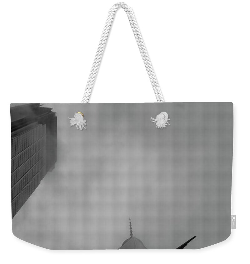 New York Weekender Tote Bag featuring the photograph Pointed Reminder by Alex Lapidus
