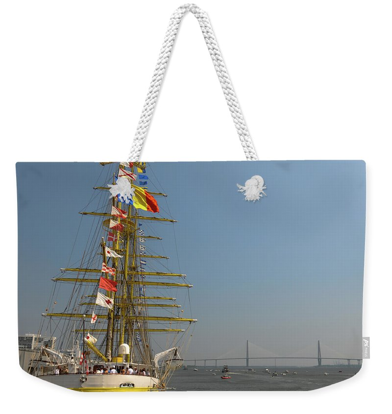 Tall Ship Weekender Tote Bag featuring the photograph Pointing North by Dale Powell