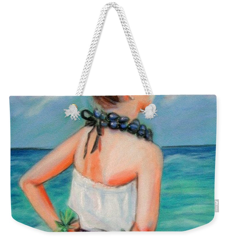 Hula Dance Weekender Tote Bag featuring the painting Poipu Hula by Marionette Taboniar