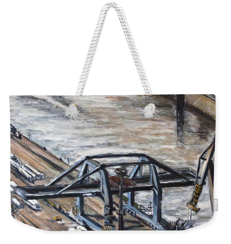 Landscape Weekender Tote Bag featuring the painting Pojizdnej Jerab by Pablo de Choros