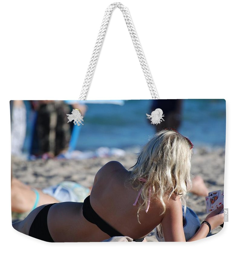Cards Weekender Tote Bag featuring the photograph Poker At The Beach by Rob Hans