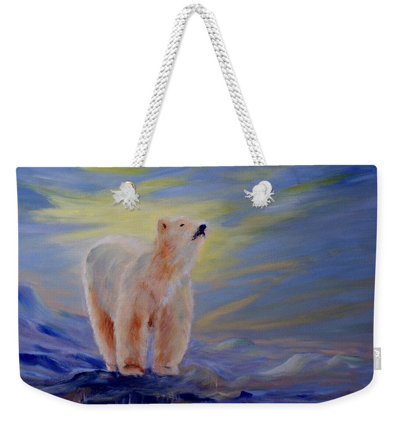Polar Bear Weekender Tote Bag featuring the painting Polar Bear by Joanne Smoley