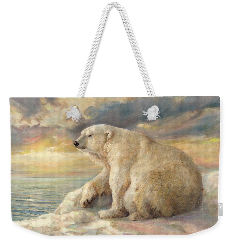 Polar Bear Weekender Tote Bag featuring the painting Polar Bear Rests On The Ice - Arctic Alaska by Svitozar Nenyuk