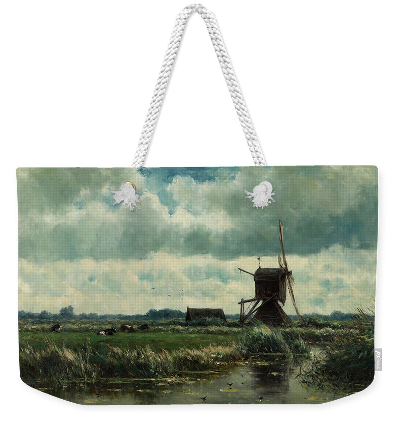 Painting Weekender Tote Bag featuring the painting Polder Landscape With Windmill Near Aboude by Mountain Dreams