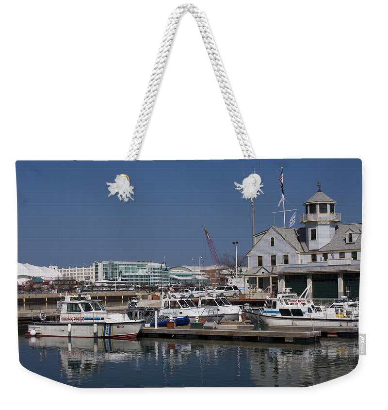Chicago Windy City Police Station Lake Michigan Water Blue Sky Water Weekender Tote Bag featuring the photograph Police Station by Andrei Shliakhau
