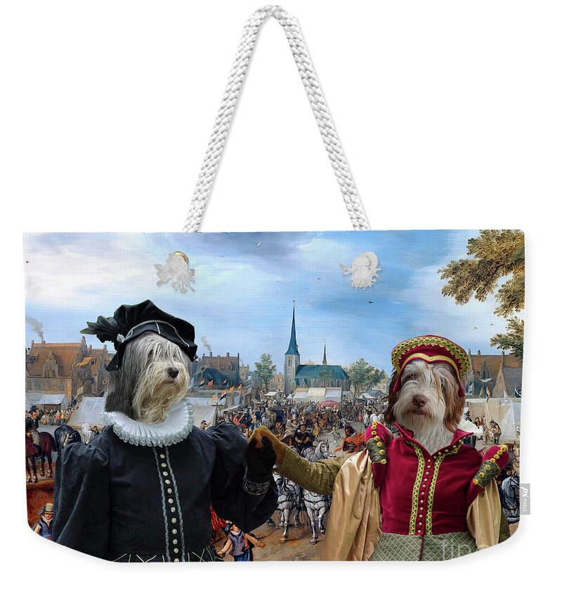 Polish Lowland Sheepdog Weekender Tote Bag featuring the painting Polish Lowland Sheepdog Art Canvas Print - Prince And Princess Of Orange by Sandra Sij