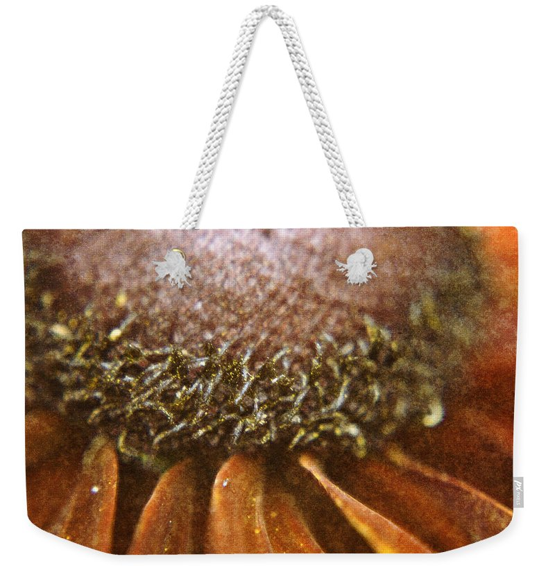 Pollen Weekender Tote Bag featuring the digital art Pollenated Painted Daisy by Teresa Mucha