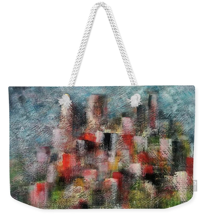 Weekender Tote Bag featuring the painting Pollution by Anthony Camilleri