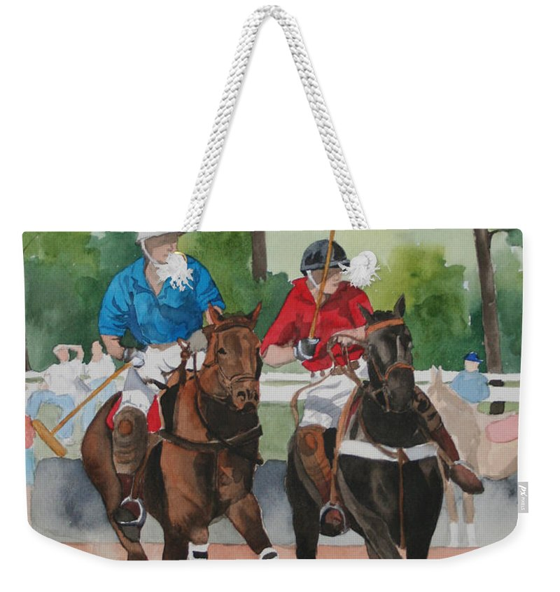 Polo Weekender Tote Bag featuring the painting Polo In The Afternoon 2 by Jean Blackmer
