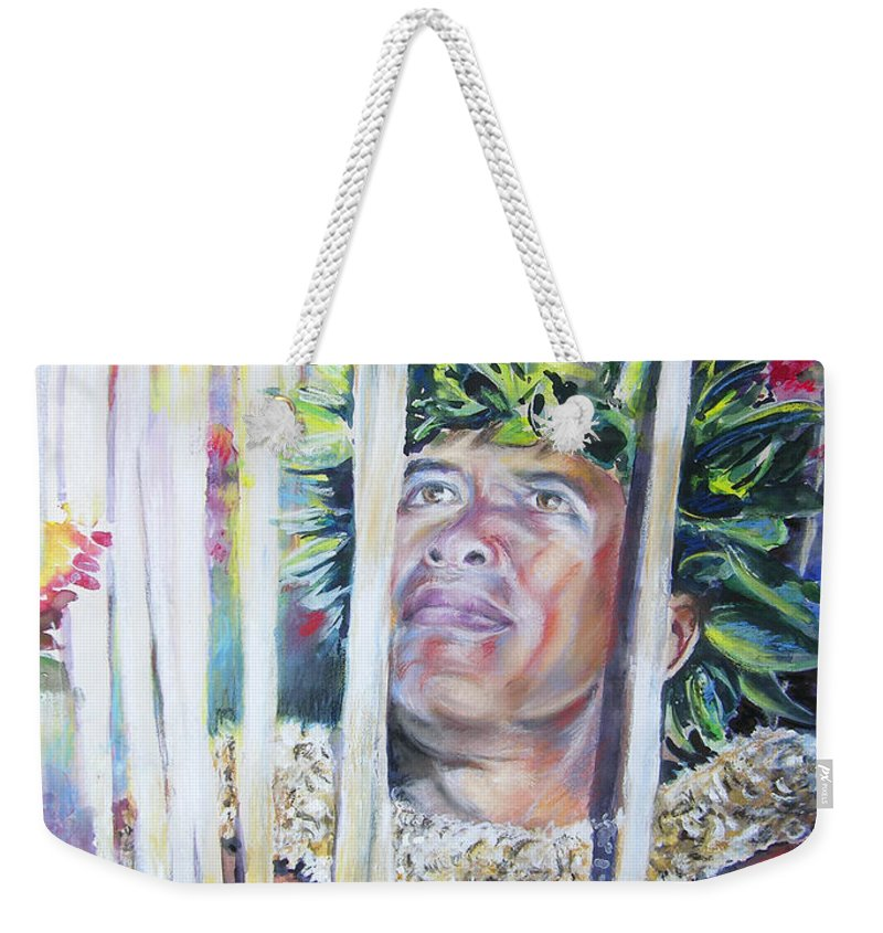Polynesia Weekender Tote Bag featuring the painting Polynesian Maori Warrior With Spears by Miki De Goodaboom