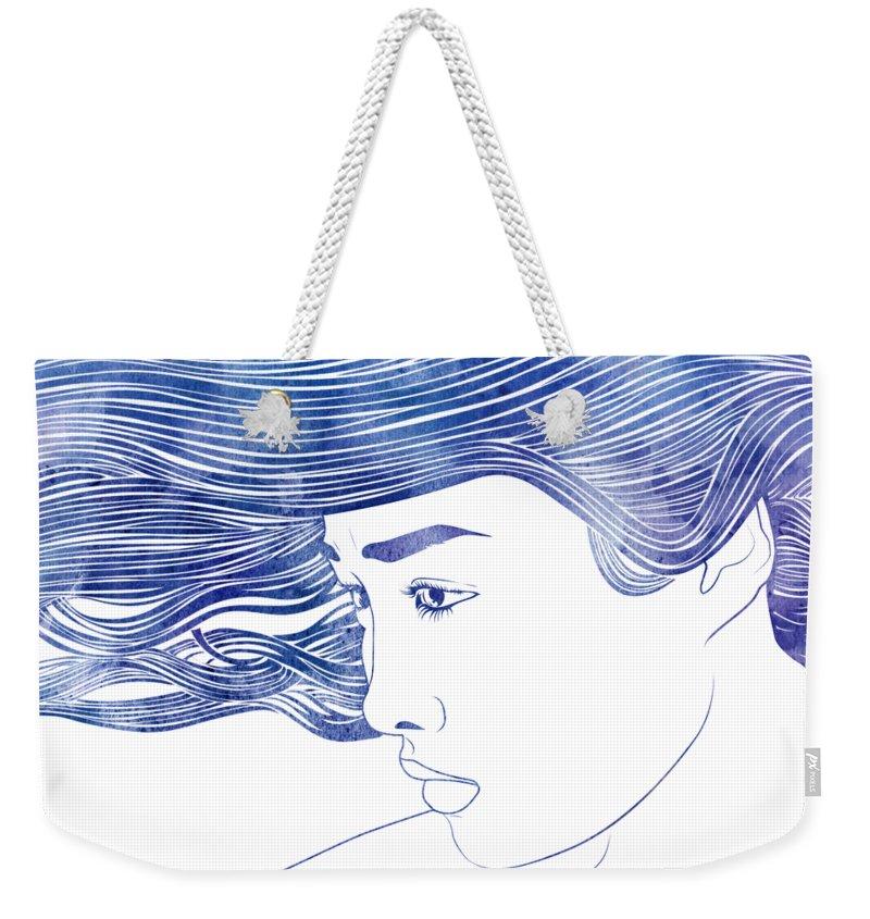 Aqua Weekender Tote Bag featuring the mixed media Polynome by Stevyn Llewellyn