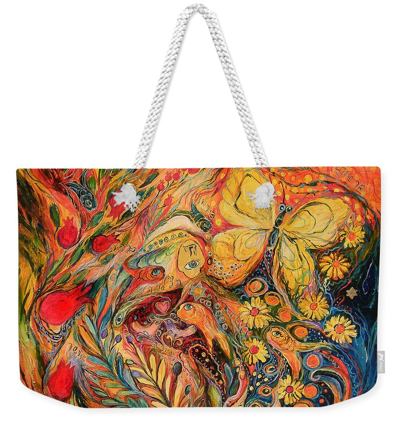 Original Weekender Tote Bag featuring the painting Pomegranates Of Luck by Elena Kotliarker