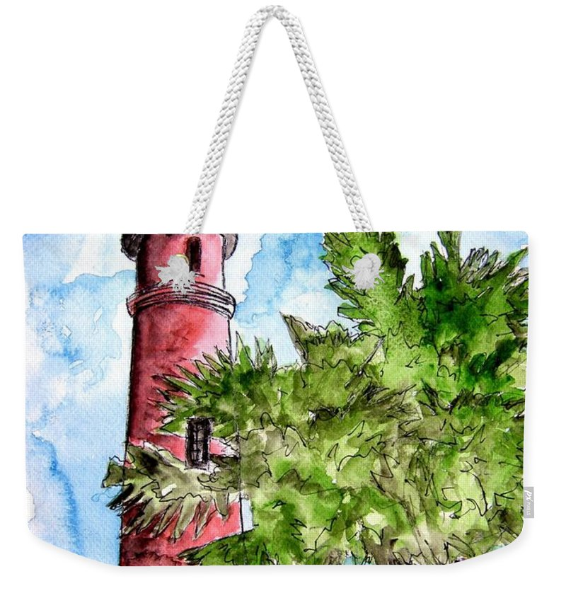 Ponce De Leon Weekender Tote Bag featuring the painting Ponce De Leon Inlet Florida Lighthouse Art by Derek Mccrea