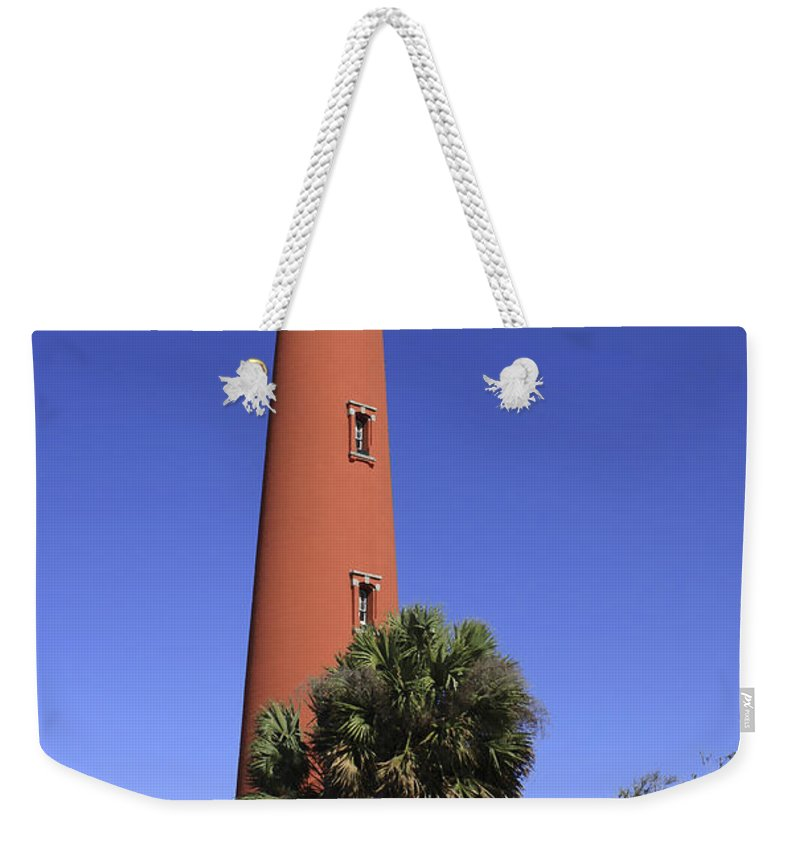 Florida Weekender Tote Bag featuring the photograph Ponce Inlet Lighthouse by Deborah Benoit