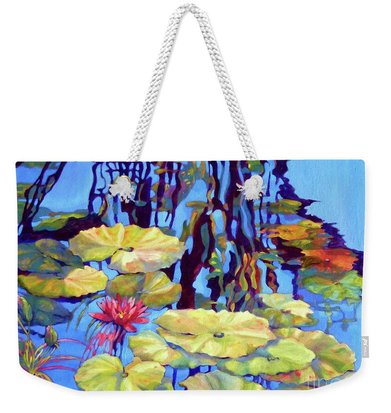 Top Artist Weekender Tote Bag featuring the painting Pond 2 Pond Series by Sharon Nelson-Bianco