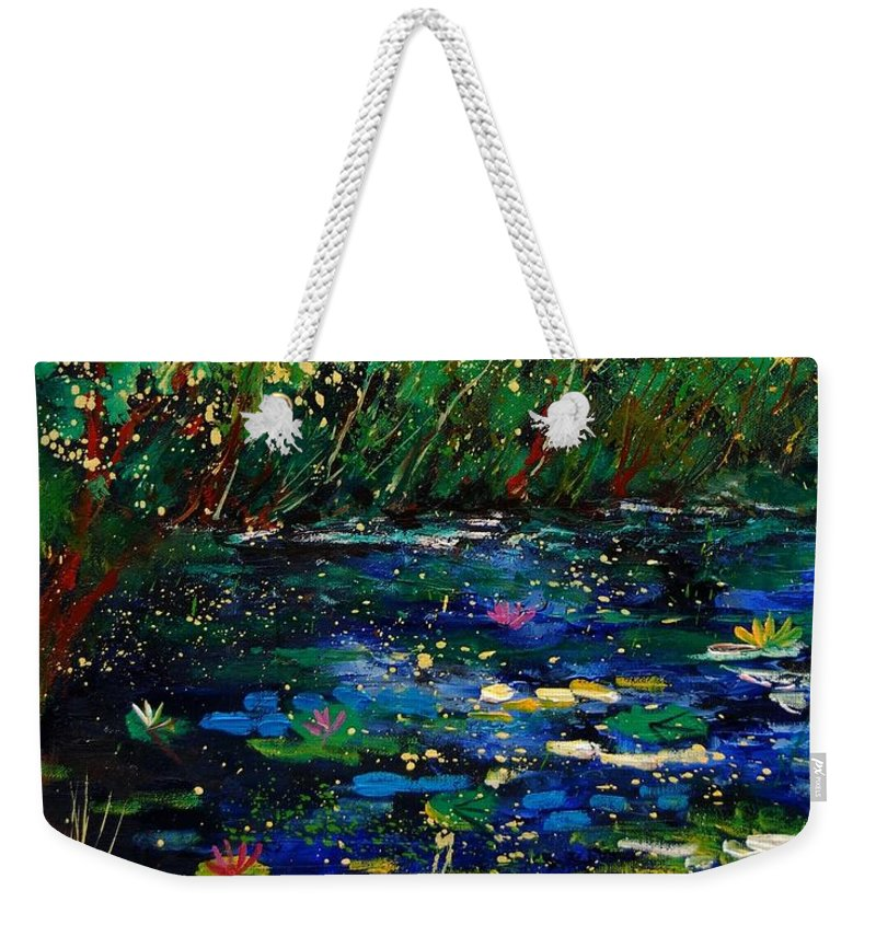 Water Weekender Tote Bag featuring the painting Pond 459030 by Pol Ledent