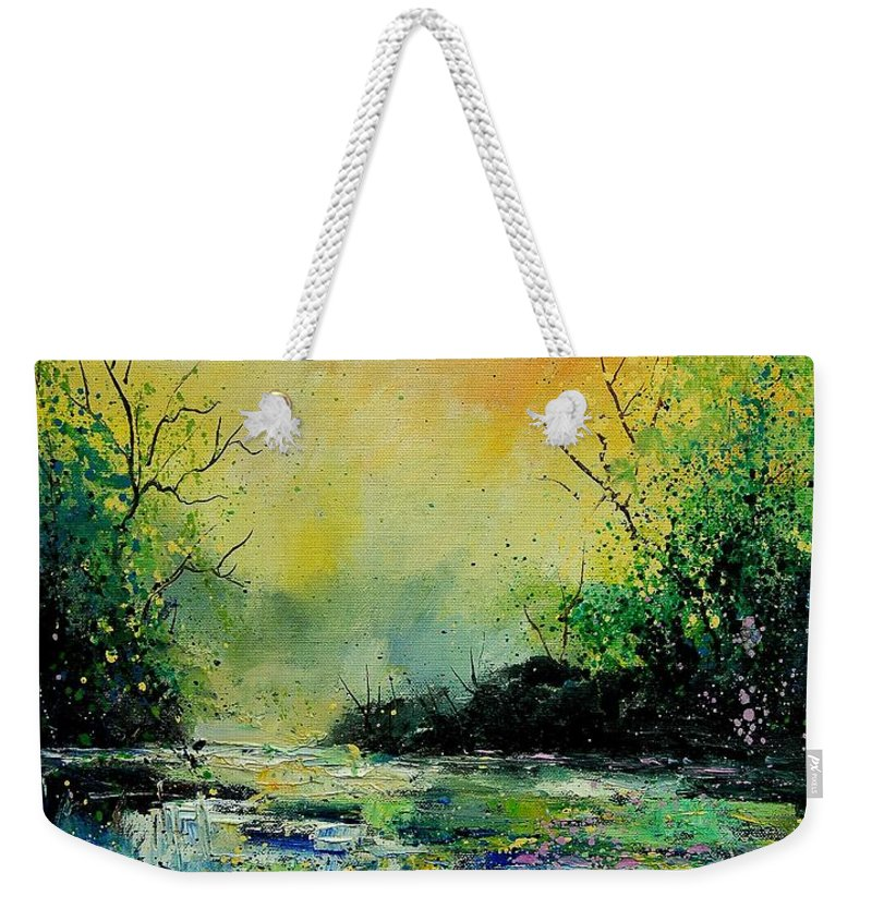 Water Weekender Tote Bag featuring the painting Pond 459060 by Pol Ledent