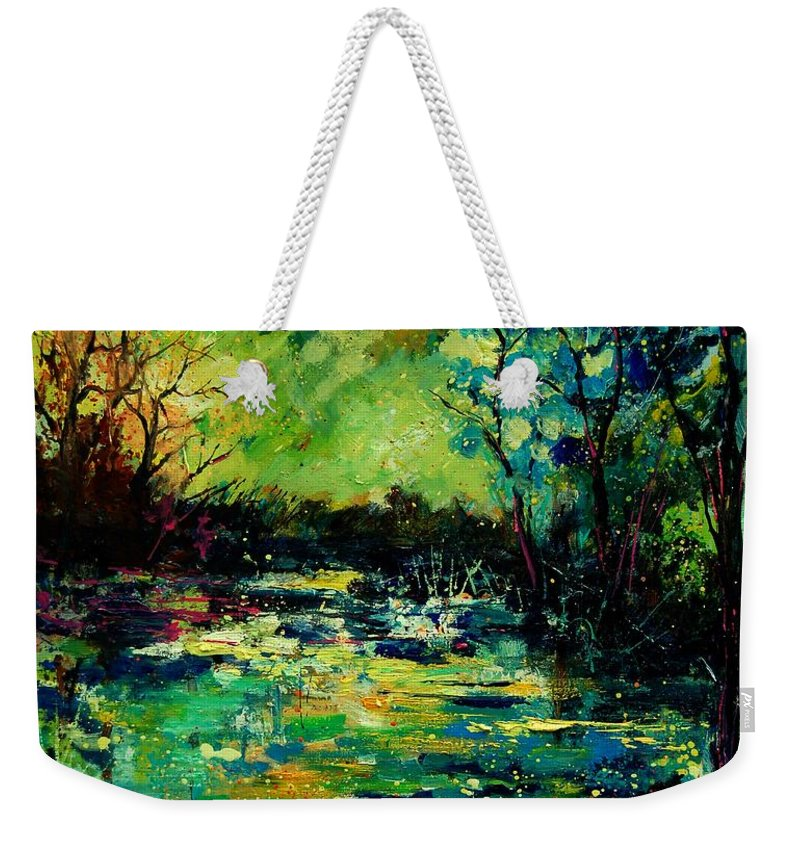 Pond Weekender Tote Bag featuring the painting Pond 560120 by Pol Ledent