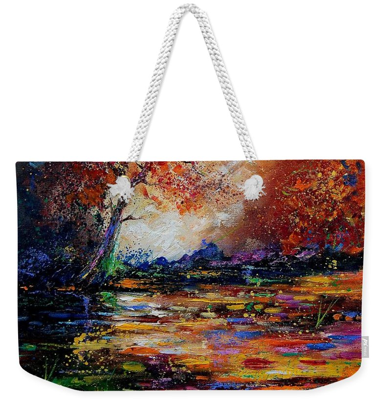 River Weekender Tote Bag featuring the painting Pond 671254 by Pol Ledent