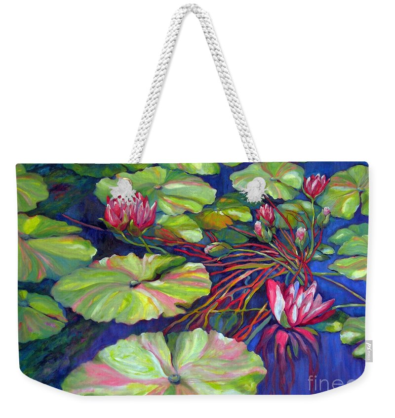 Contemporary Art Weekender Tote Bag featuring the painting Pond 8 Pond Series by Sharon Nelson-Bianco