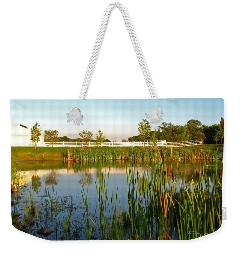 Landscape Weekender Tote Bag featuring the photograph Pond At Sunset by Todd Blanchard
