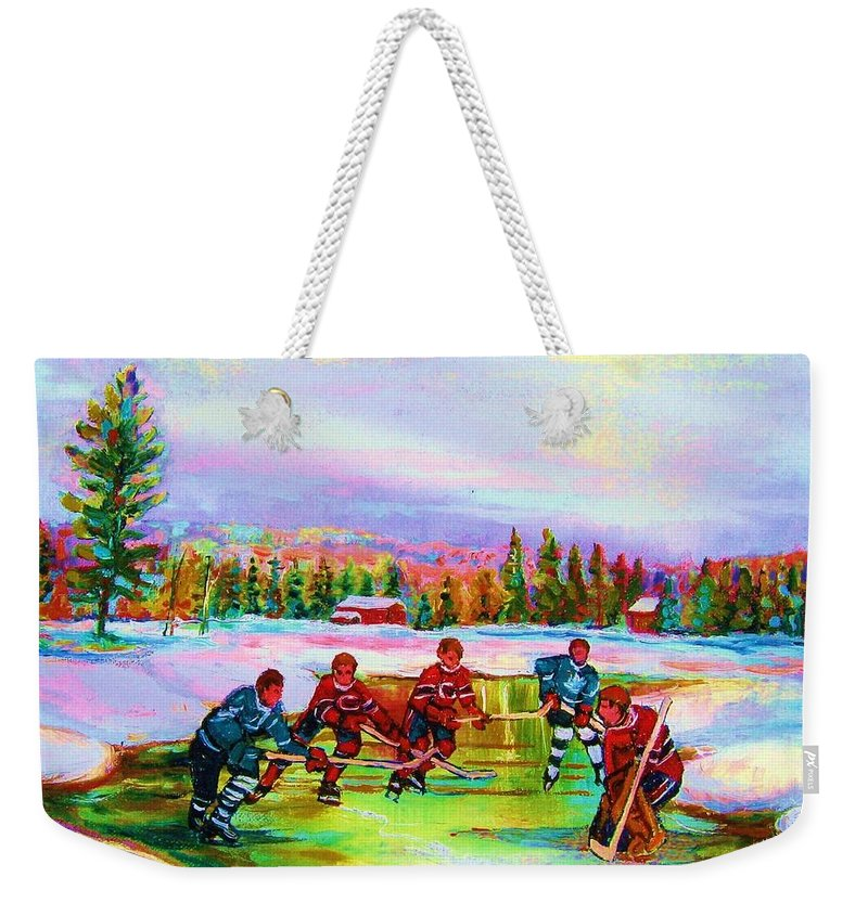 Hockey Weekender Tote Bag featuring the painting Pond Hockey Blue Skies by Carole Spandau
