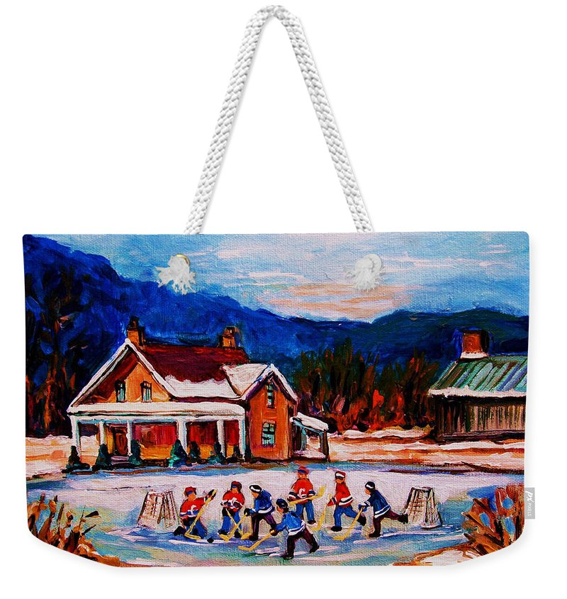 Hockey Weekender Tote Bag featuring the painting Pond Hockey by Carole Spandau