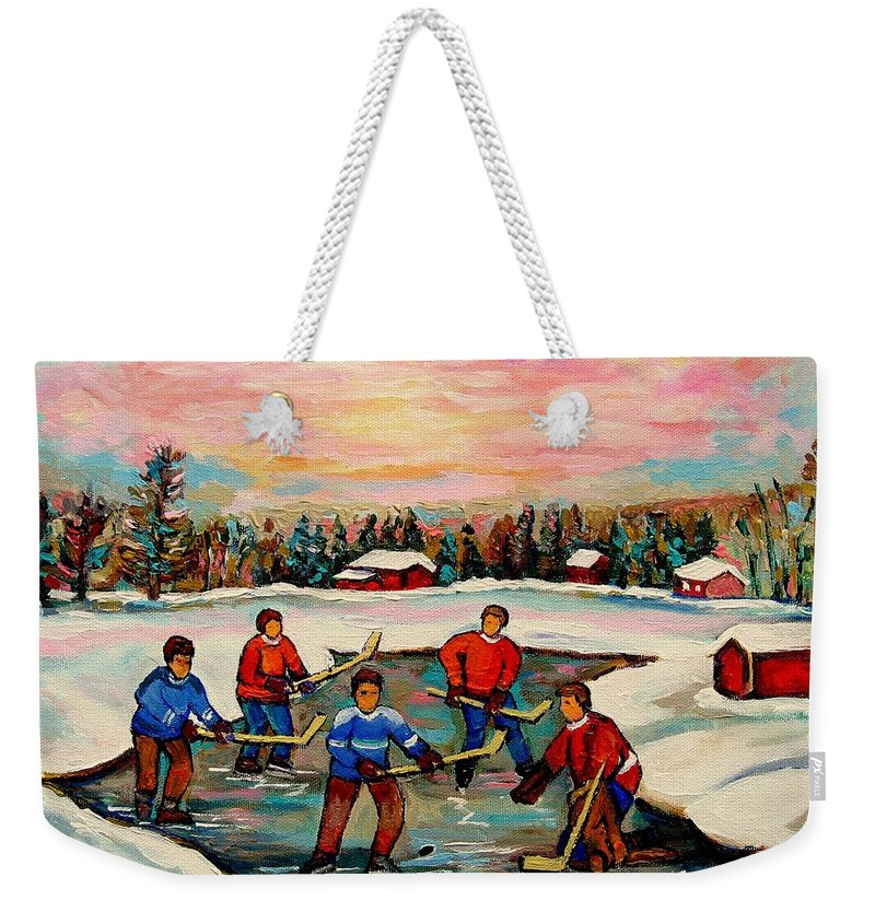 Montreal Weekender Tote Bag featuring the painting Pond Hockey Countryscene by Carole Spandau
