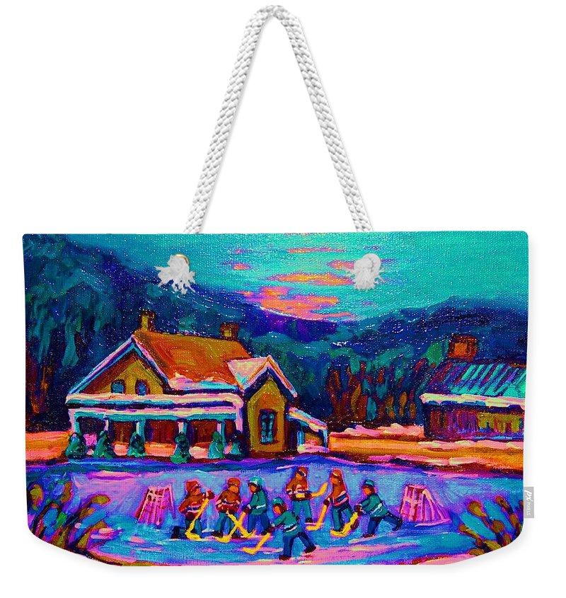 Pond Hockey Weekender Tote Bag featuring the painting Pond Hockey Two by Carole Spandau