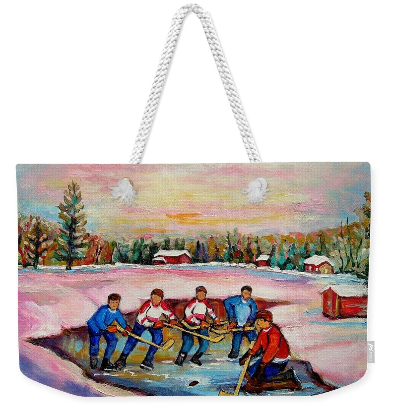 Pond Hockey Weekender Tote Bag featuring the painting Pond Hockey Warm Day by Carole Spandau