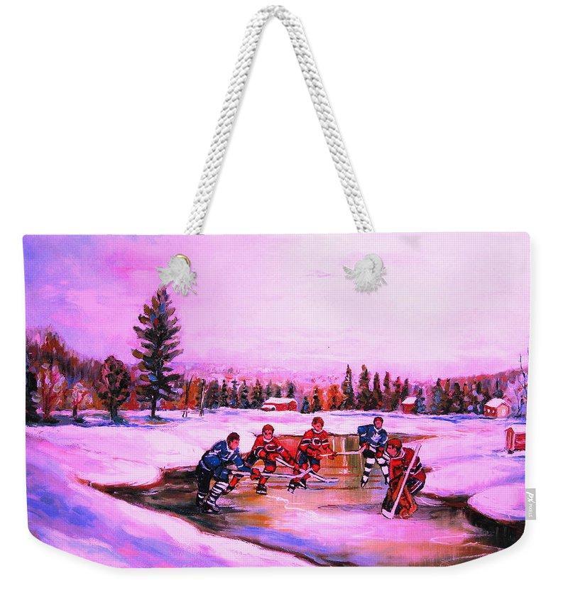 Hockey Weekender Tote Bag featuring the painting Pond Hockey Warm Skies by Carole Spandau
