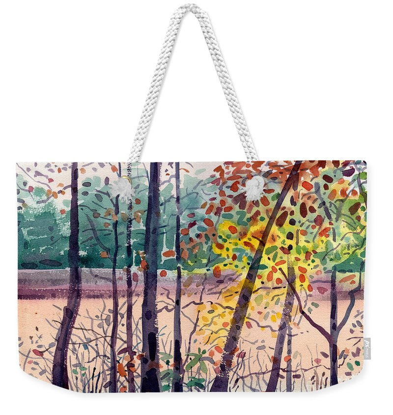 Pond Weekender Tote Bag featuring the painting Pond In Fall by Donald Maier