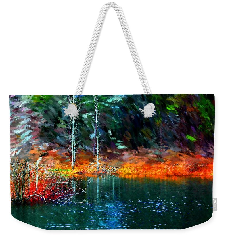 Digital Photograph Weekender Tote Bag featuring the photograph Pond In The Woods by David Lane